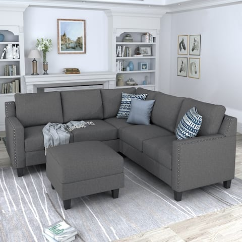 2 Piece Living Room Rivet Modern Upholstered Set with cushions