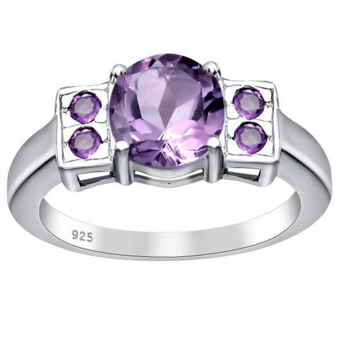 Amethyst Sterling Silver Round Engagement Ring By Orchid Jewelry