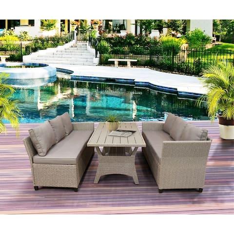 GZMR Patio Outdoor Furniture PE Rattan Wicker Conversation Set