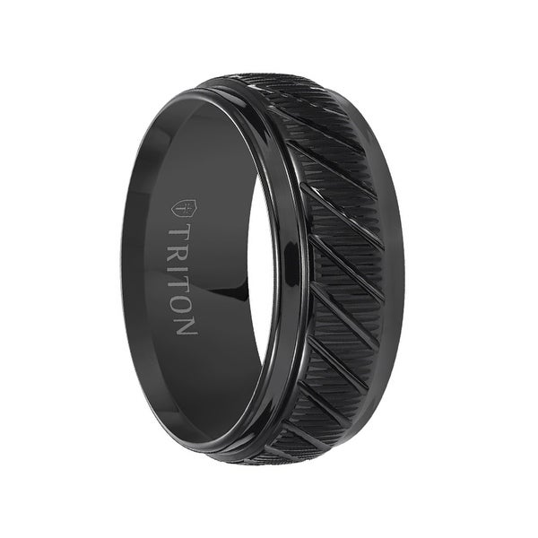 LAMONT Coin Edge Textured Black Tungsten Carbide Wedding Band with Beveled Step Edges by Triton Rings - 9 mm