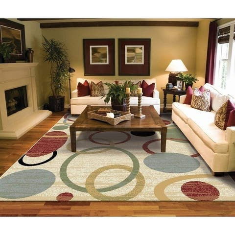 Copper Grove Parkano Ivory Circles and Rings Area Rug