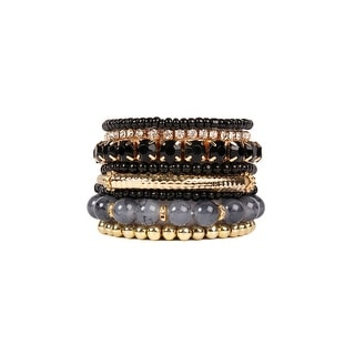 Riah Fashion Multi Color Stretch Beaded Stackable Bracelets