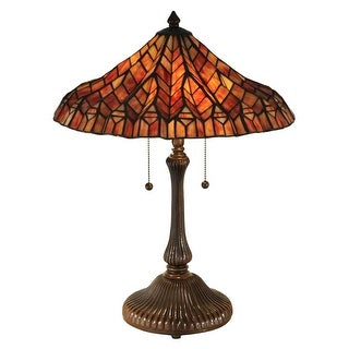 """24"""" Burning Red and Orange Antique Bronze Red Lotus Hand Rolled Art Glass Table Lamp"""