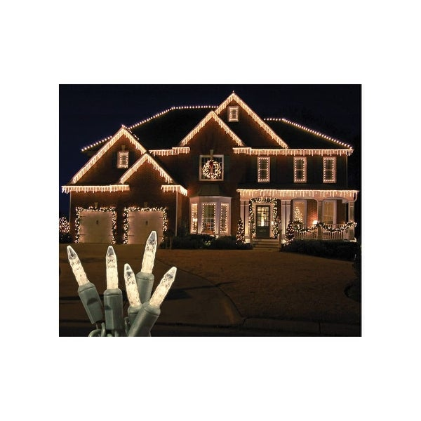 Christmas at Winterland S-ICM5WW-IG Standard Icicle Lights M5 LED Warm White Faceted 70 Lights Green Wire 22 Gauge