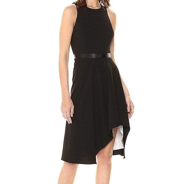 62c2d37f3218 Shop Calvin Klein Black Womens Size 4 Sheath Satin Trim High Low Dress - On  Sale - Free Shipping Today - Overstock - 27006543