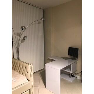 HOMCOM Rotating Office Desk and Shelf Combo - White
