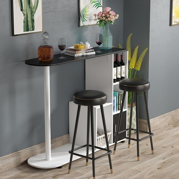 Bar Pub Table Industrial Counter Dining Table W// Metal Frame /& Storage Shelves