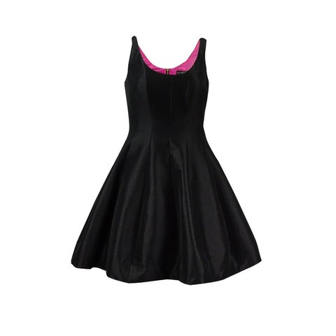 Betsy & Adam Women's Petite Fit & Flare Taffeta Dress - Black/Fuschia