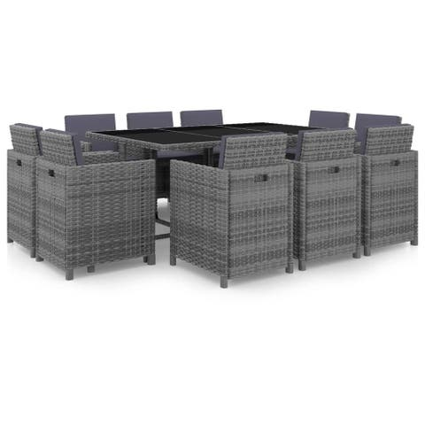 vidaXL 11 Piece Outdoor Dining Set with Cushions Poly Rattan Gray