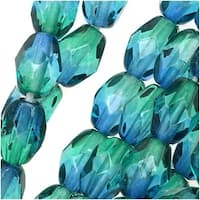 Czech Fire Polished Glass Two Toned Beads 7 x 5mm Oval Blue Green (25)