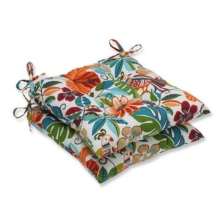 """Set of 2 Blue and Orange Gloom of Bloom Outdoor Patio Iron Seat Cushion 19"""""""