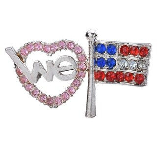 Sparkly We love America Heart & Flag, Patriotic Pride Themed Brooch Pin, by JADA Collections