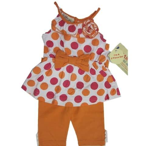 Carter's Baby Girls Orange Pink Dotted Ruffle Flower Bow 2 Pc Pants Set 12-24M