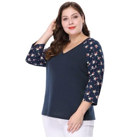 Women's Plus Size V Neck 3/4 Sleeve Raglan Floral Print Top - Blue