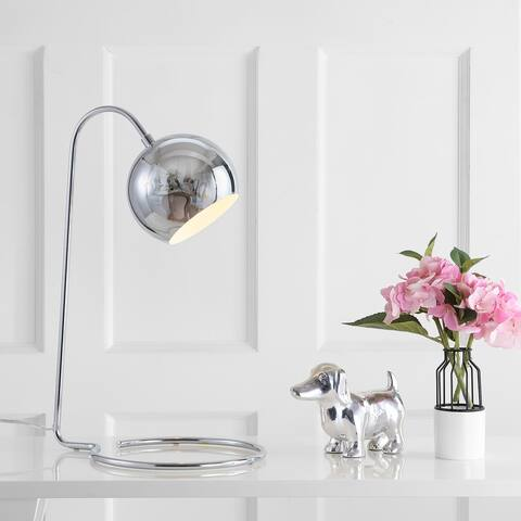 "SAFAVIEH Lighting 22-inch Mid-Century Chrome Jana Task LED Table Lamp - 14""x11""x22"""