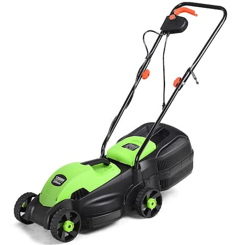 Costway 12 Amp 14-Inch Electric Push Lawn Corded Mower with Grass Bag