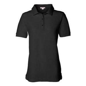 FeatherLite Women's Pique Sport Shirt - Black - 2XL