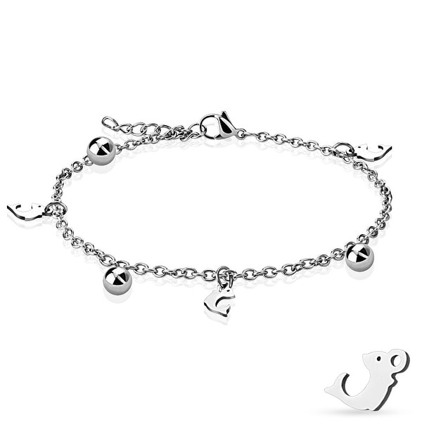 Dangling Dolphin and Ball Charm Chain 316L Stainless Steel Anklet/Bracelet (13.5 mm) - 9.25 in