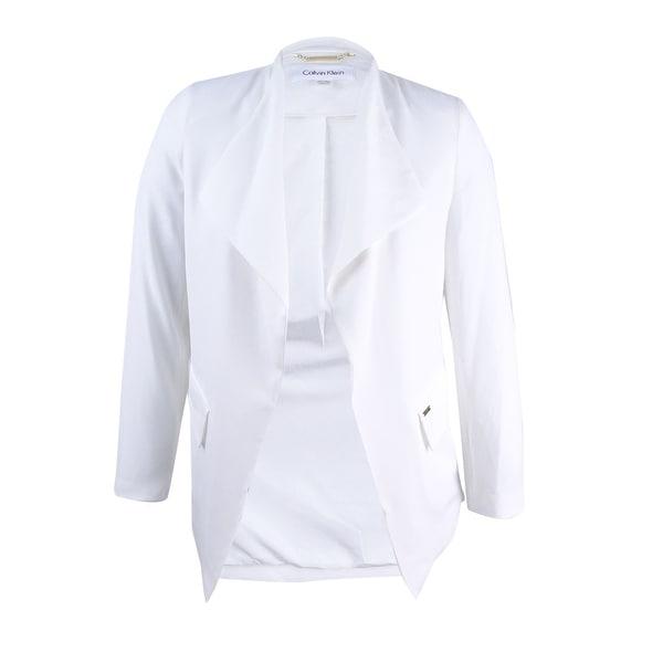 213d70669 Calvin Klein Women's Petite Soft Suiting Flyaway Jacket (PL, Cream) - Cream  - pl