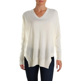 Alexander Wang Womens Wool Ribbed Trim Poncho Sweater - L