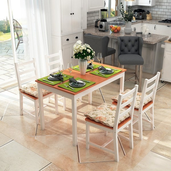 Five Piece Solid Pine Wood Table and High Back Chair Dining Set. Opens flyout.