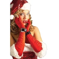 Miss Santa Satin Gloves Women's Costume Accessory - Red