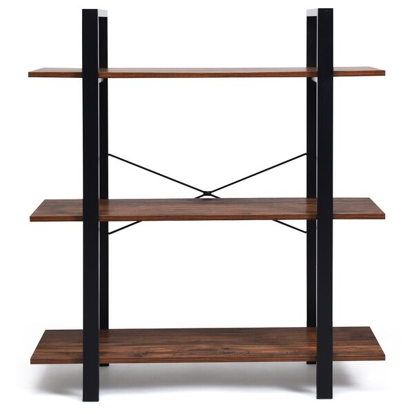 3-Tiers Bookshelf Industrial Bookcases Metal Frame Shelf Display Stand Wooden