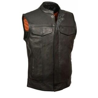 Mens Leather Open Neck Snap / Zip Front MC Vest