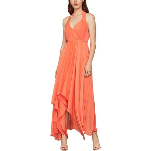 BCBGMAXAZRIA Womens Sleeveless Faux Wrap Formal Dress - Salmon