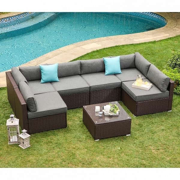 COSIEST 7-piece Outdoor Patio Furniture Wicker Sofa. Opens flyout.