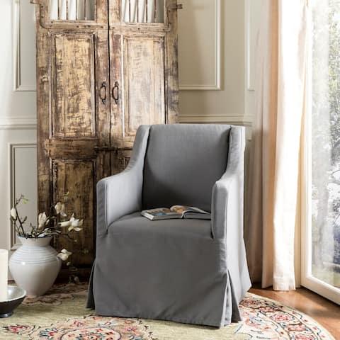 "SAFAVIEH Sandra Arctic Grey Slipcover Chair - 25.6"" x 26.4"" x 35.6"""