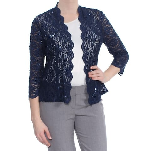 ALEX EVENINGS Womens Navy Sequined Lace Jacket Size 10
