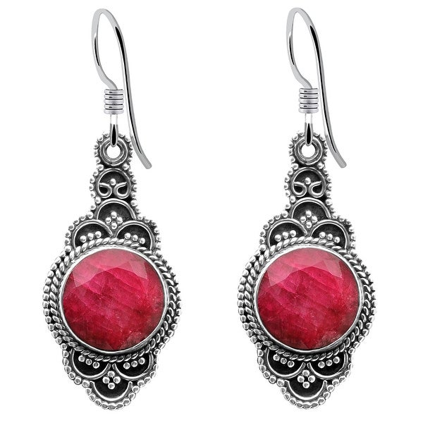 Multi Color Gemstones Sterling Silver Round Dangle Earrings by Orchid Jewelry. Opens flyout.
