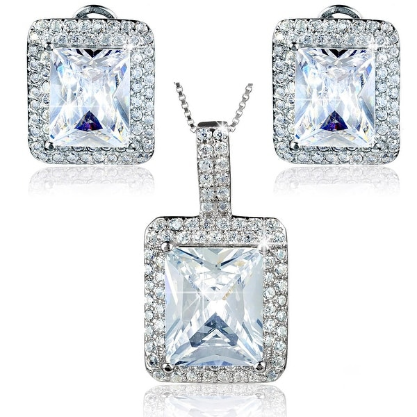 """Sterling Silver Radiant-Cut Cubic Zirconia Double Halo Earrings and Necklace 18"""" Set"""