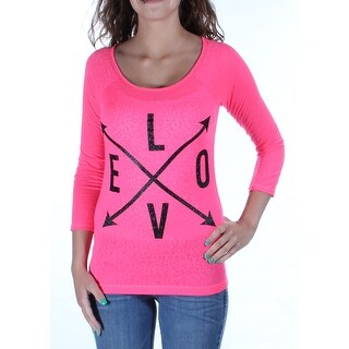 Womens Pink LOVE 3/4 Sleeve Jewel Neck Casual Top Size 2XS