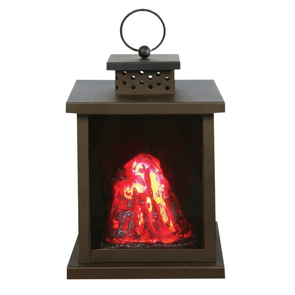 """What On Earth LED Volcano Lantern - Battery Operated Indoor Black Metal Accent Lamp and Nightlight - 5.5"""" x 6.3"""" x 9.3"""""""
