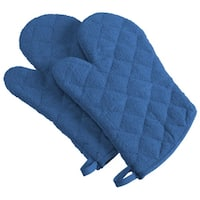 Set of 2 Blue Terry Cloth Oven Mitts 13""