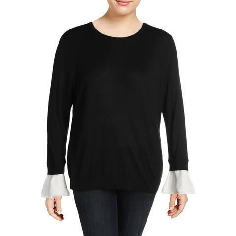 Lauren Ralph Lauren Womens Plus Karolyna Sweater Knit Mixed Media