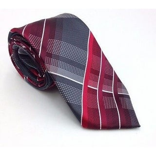 Geoffrey Beene NEW Red Gray Mens One Size Fearless Plaid Neck Tie