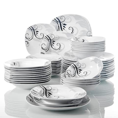 48-Piece Ceramic Dinnerware Set Decal Patterns Pottery Plate Sets