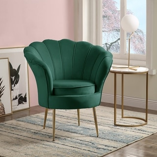 Link to Angelina Velvet Scalloped Back Barrel Accent Chair with Metal Legs Similar Items in Accent Chairs