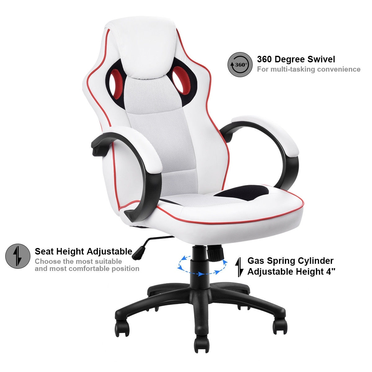 Costway Executive High Back Sport Racing Style Gaming Office Chair Computer Swivel White