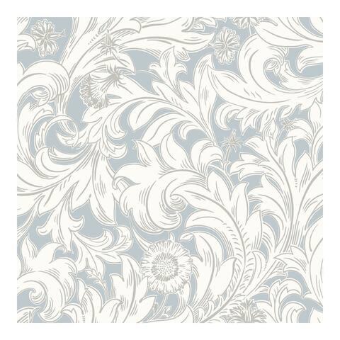 Ahu Light Blue Scroll Wallpaper - 20.5 x 396 x 0.025