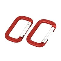 Unique Bargains Traveling Spring Loaded Carabiners Clips Hooks Red 5cm Long 2PCS
