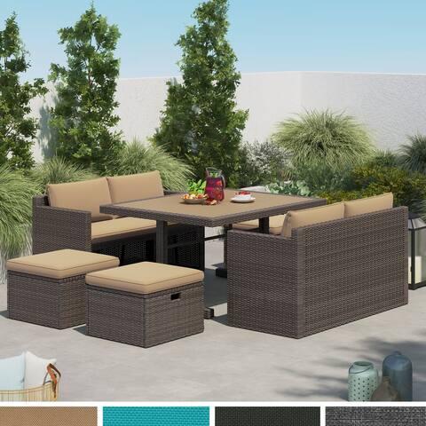Corvus Mariah 7-piece Wicker Patio Dining Set with Cushions