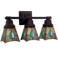 "Meyda Tiffany 31231 Mackintosh Leaf 3 Light 20"" Wide Bathroom Vanity Light with Tiffany Glass Shade - Mahogany Bronze"