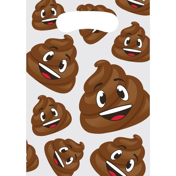 Club Pack of 96 Glow Party Fun Smiling Poop Emojis Favor Bags - brown