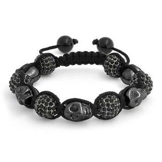 Bling Jewelry Shamballa Inspired Black Skulls Crystal Bead Bracelet Alloy