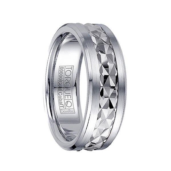 a9d09c0a0d883 Brushed Cobalt Men's Wedding Ring with 14k White Gold Inlay & Detailed  Facets by Crown Ring - 7.5mm
