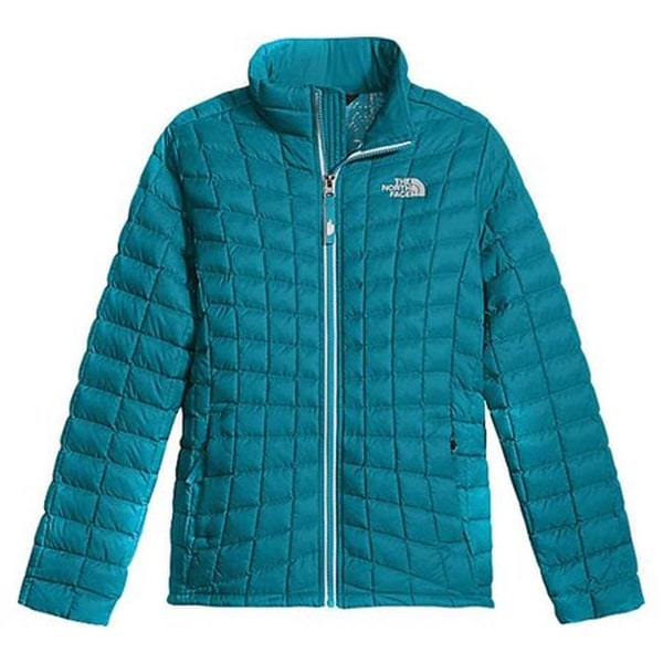3912f2392 The North Face Girls' Thermoball Full Zip Jacket Algiers Blue Leaf Print